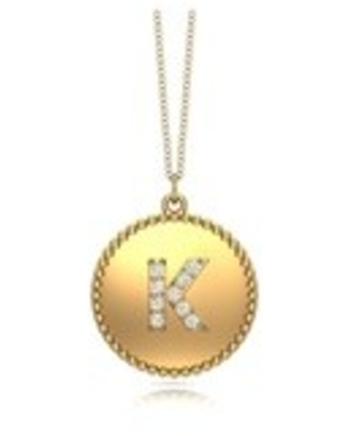 """Noray Designs 14K Gold Diamond (0.07Ct, G-H Color, SI2-I1 Clarity) A-Z Alphabet Initial Pendant, 18"""" Gold Chain (K - Yellow)"""