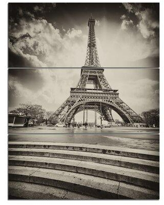 Design Art 'Eiffel Tower in Shade' Photograph Print Multi-Piece Image on Canvas PT9076-3PV