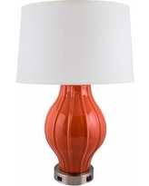 Kel Paprika Large Fluted Table Lamp with Outlet and USB Port