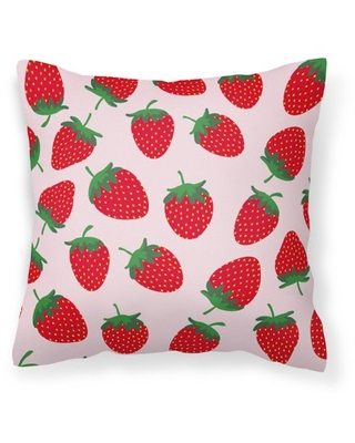 Strawberries on Pink Fabric Decorative Pillow