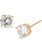 Gold over Sterling Silver Round Cubic Zirconia Stud Earrings (6mm), Girl's