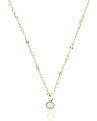 Lily & Roo - Gold Single Pearl Necklace On Satellite Chain