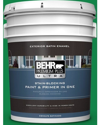 BEHR ULTRA 5 gal. #460B-6 Chlorophyll Satin Enamel Exterior Paint and Primer in One