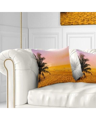 East Urban Home Landscape Coconut Tree Silhouette Pillow, Product Type: Throw Pillow, Polyester/Polyfill/Polyester/Polyester blend in Orange Wayfair
