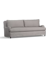 "Carlisle Slipcovered Grand Sofa 90.5"" with Bench Cushion, Down Blend Wrapped Cushions, Performance Twill Metal Gray"