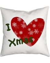 "SafiyaJamila Holiday Treasures Throw Pillow ILoveXmas_ Size: 20"" H x 20"" W"