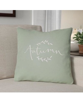 """The Holiday Aisle Autumn Indoor/Outdoor Throw Pillow HLDY1189 Size: 18"""" H x 18"""" W x 4"""" D, Color: Green/White"""