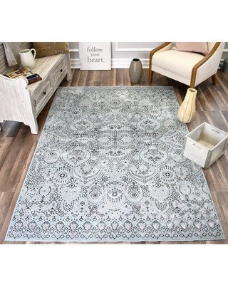 CosmoLiving by Cosmopolitan Helena Artistic Light Blue/Dark Blue Area Rug 7935302766 Rug Size: Rectangle 8' x 10'