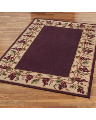 "Bordeaux Grape Border Rectangle Rug, 3'6"" x 5'6"", Plum"