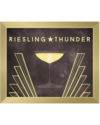 """Click Wall Art Riesling Thunder Framed Graphic Art on Canvas IZON8394 Format: Gold Framed Size: 10.5"""" H x 12.5"""" W"""