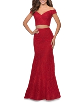 La Femme Two-Piece Beaded Lace Mermaid Gown, Size 0 in Red at Nordstrom