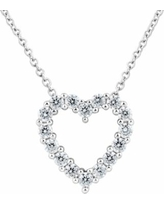 DiamonLuxe Sterling Silver 5/8 Carat T.W. Simulated Diamond Heart Pendant, Women's, White