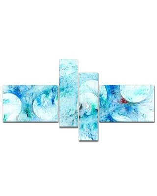 East Urban Home 'Blue White Fractal Glass Texture' Graphic Art Print Multi-Piece Image on Canvas FVIH9235