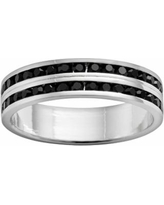 Traditions Silver-Plated Swarovski Crystal Eternity Ring Set, Women's, Size: 9, Black