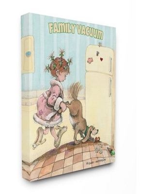 Family Vacuum Funny Cartoon Pet Dog Design Oversized Stretched Canvas Wall Art by Gary Patterson