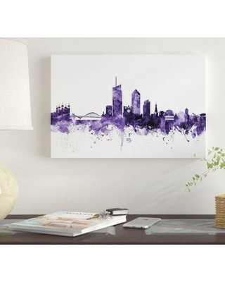"""East Urban Home 'Lyon France Skyline' by Michael Tompsett Graphic Art Print on Wrapped Canvas EUME4973 Size: 12"""" x 18"""" x 0.75"""""""