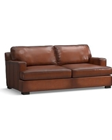 Townsend Square Arm Leather Loveseat, Polyester Wrapped Cushions, Leather Burnished Saddle
