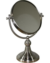 ORE International 5 in. x 14 in. Free Standing Round X3 Magnify Mirror, Brushed Silver