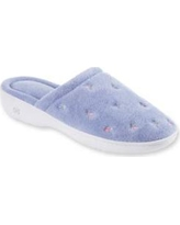 Totes Isotoner Periwinkle Signature Classics Floral Terry Embroidered Clog Slipper