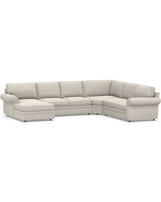Pearce Square Arm Upholstered Right Arm 4-Piece Wedge Sectional, Down Blend Wrapped Cushions, Performance Everydaysuede(TM) Stone