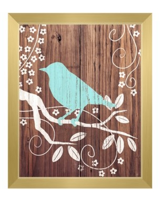 """Perching Bird Turquoise Framed Painting Print on Canvas Click Wall Art Size: 26.5"""" H x 22.5"""" W, Format: Gold Framed"""