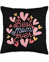 Happy Mothers Day Ideas and Apparel For Mom Happy Mother's Day 2021 Best Ever Cute Women's Mom Throw Pillow, 16x16, Multicolor