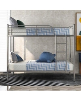 Isabelle & Max™ Odegaard Twin over Twin Bunk Bed Metal in Gray, Size 78.0 W x 39.5 D in   Wayfair 83DEF8880B9F4DD3A796A10D7DEB2250