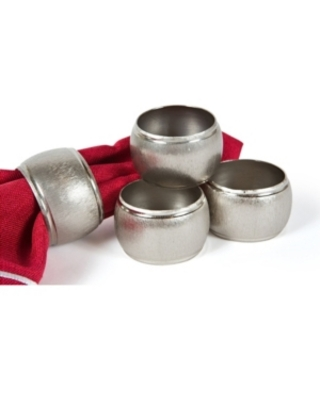 Manor Luxe Textured Metal Napkin Rings, Set of 4