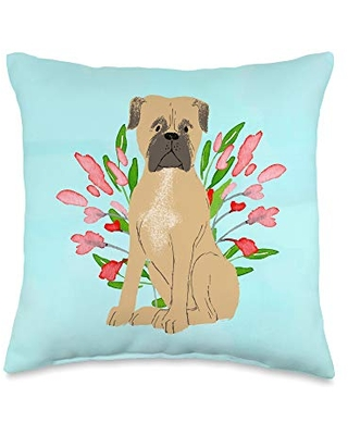 Swesly Totes & Pillows Mastiff Dog with Flowers on Blue AES385 Throw Pillow, 16x16, Multicolor