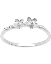 Itsy Bitsy Cubic Zirconia Sterling Silver Flower Delicate Cocktail Ring, 8