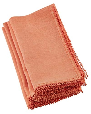 "SARO LIFESTYLE Pomponin Collection Beautiful Linen Table Napkins With Pompom Design (Set of 4), 20"", Pumpkin"