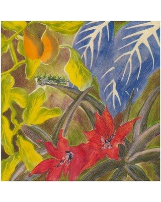"""Charlton Home 'Tropical Monotype I' Acrylic Painting Print on Wrapped Canvas CRLM2597 Size: 18"""" H x 18"""" W x 2"""" D"""