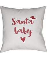 """The Holiday Aisle Santa Baby Indoor/outdoor Throw Pillow HLDY4839 Size: 16"""" H x 16"""" W x 4"""" D"""
