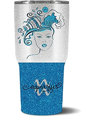 """Personalized Aquarius Zodiac Sign Stainless Steel Tumbler by Wine Glass Queen – Includes Straw and Lid – """"The Zodiac Woman"""" – Zodiac Tumbler, Aquarius, – Personalized Gifts"""