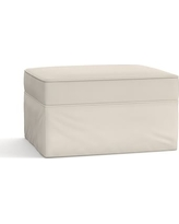 Pearce Slipcovered Ottoman, Polyester Wrapped Cushions, Twill Cream