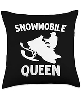 Best Snowmobiler & Winter Racing Skimobile Designs Funny Gift for Women Mama Snowmobiling Ice Sport Throw Pillow, 18x18, Multicolor