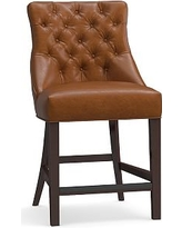 """Hayes Tufted Leather Counter Height Barstool 42.25"""", Leather Statesville Molasses"""