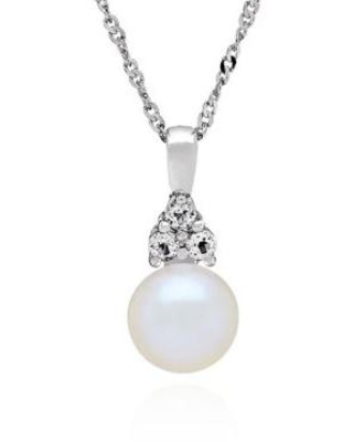 Belk & Co. Silver Freshwater Pearl and White Topaz Pendant Necklace in Sterling Silver