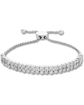 Jared The Galleria Of Jewelry Diamond Bolo Bracelet 1 ct tw Bezel-set Round Sterling Silver