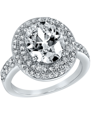 ELYA Sterling Silver Oval Cut Cubic Zirconia Double Halo Ring (8)