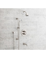 Warby Thermostatic Cross-Handle Bathtub & Hand-Held Shower Faucet Set, Polished Nickel Finish