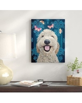 """East Urban Home 'Happy Dog' Graphic Art Print URBR6100 Size: 18"""" H x 14"""" W, Format: Canvas"""