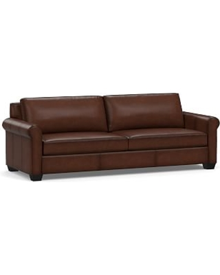 """York Roll Arm Leather Grand Sofa 98"""", Down Blend Wrapped Cushions, Burnished Walnut"""