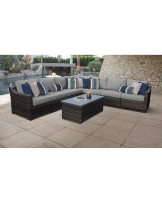 kathy ireland Homes & Gardens River Brook 8 Piece Outdoor Wicker Patio Furniture Set 08a in Slate - TK Classics River-08A-Grey