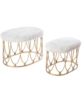 Bold Tones Gold Metal Side Accent Table Stools with White Fur Top Seat (Set of 2), White/Gold
