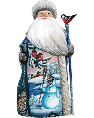 The Holiday Aisle® Masterpiece Happy Snowman Santa Woodcarved Figurine 932604