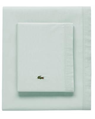Lacoste Percale Solid Sheet Set, California King, Iced Mint