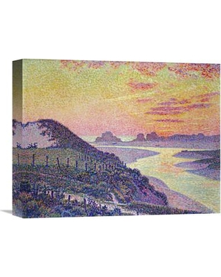 "Global Gallery 'Sunset at Ambleteuse Pas De Calais' by Theo Van Rysselberghe Painting Print on Wrapped Canvas GCS-265761- Size: 17.36"" H x 22"" W x 1.5"" D"