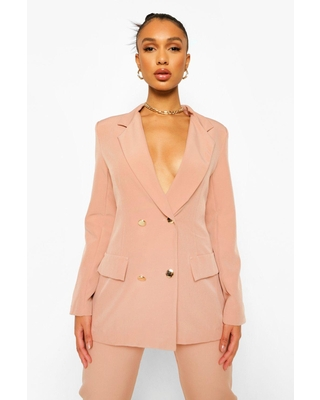 Womens Double Breasted Fitted Blazer - Pink - 4