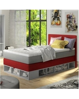 Zoomie Kids Extra Long Twin Platform Bed with Mattress ZMIE5939 Color: Red